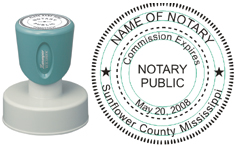 N53 Round Mississippi Notary Stamp