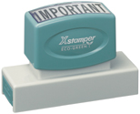 Checkout the Xstamper N26 here. This custom pre inked stamp is perfect for a large company name, phrase, or signature, and lasts up to 50,000 impressions.
