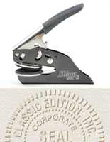 XstamperOnline.com is pleased to this practical and hard wearing seal embosser.  All our embossers are laser engraved for superior quality, and come with a rubberized handle for comfort